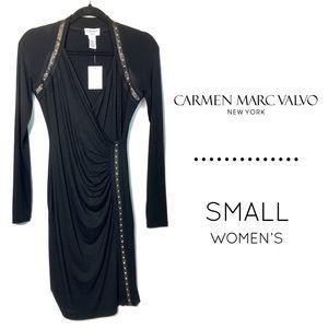 NWT Carmen Marc Valvo long sleeve gold stud dress